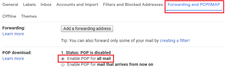 Step 3 Select the Forwarding and POP/IMAP tab. Step 4 Under POP download select Enable POP for all mail. how can i move all my emails from one gmail account to another