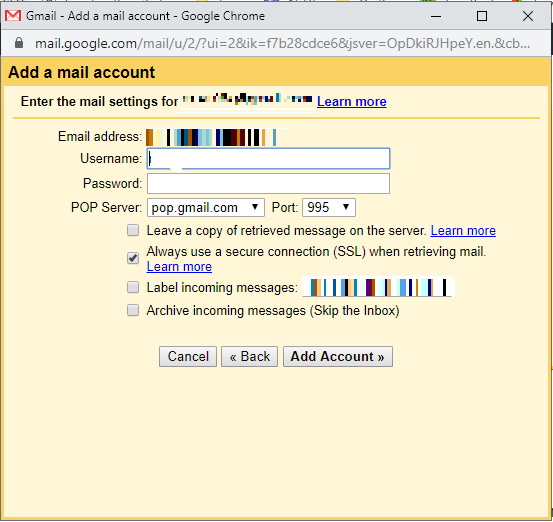 Now check if your username is correct and enter the password of your old Gmail account. Under the POP Server select the email as pop.gmail.com and the Port number as 995. Only check the Always use a secure connection (SSL) when retrieving mail and leave everything as it is. Now click on Add account.   transfer emails from one gmail account to another