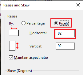 A new window will pop up, Resize and skew.  select pixels option. How to blur an image in paint