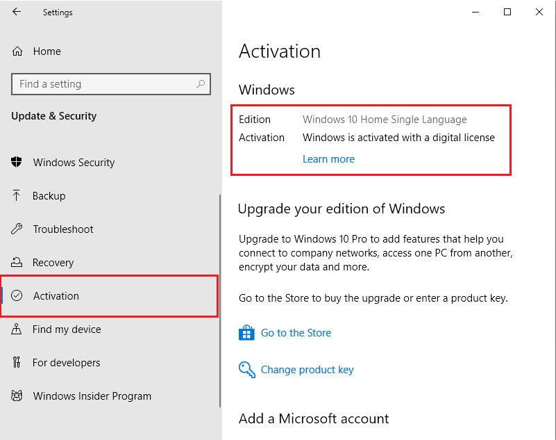 On the left sidebar select the Activation tab and now on the right-hand side, you will see the message whether you have activated Windows 10.