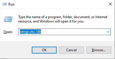 So press the Start + R to open the Run dialog and then type slmgr.vbs /dli and hit enter. slmgr stands for Software License Manager and the .vbs means Visual Basic Script.
