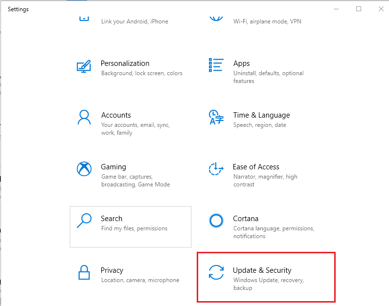 Press the Start button, type Settings and open the app.  Now go to Update & Security.