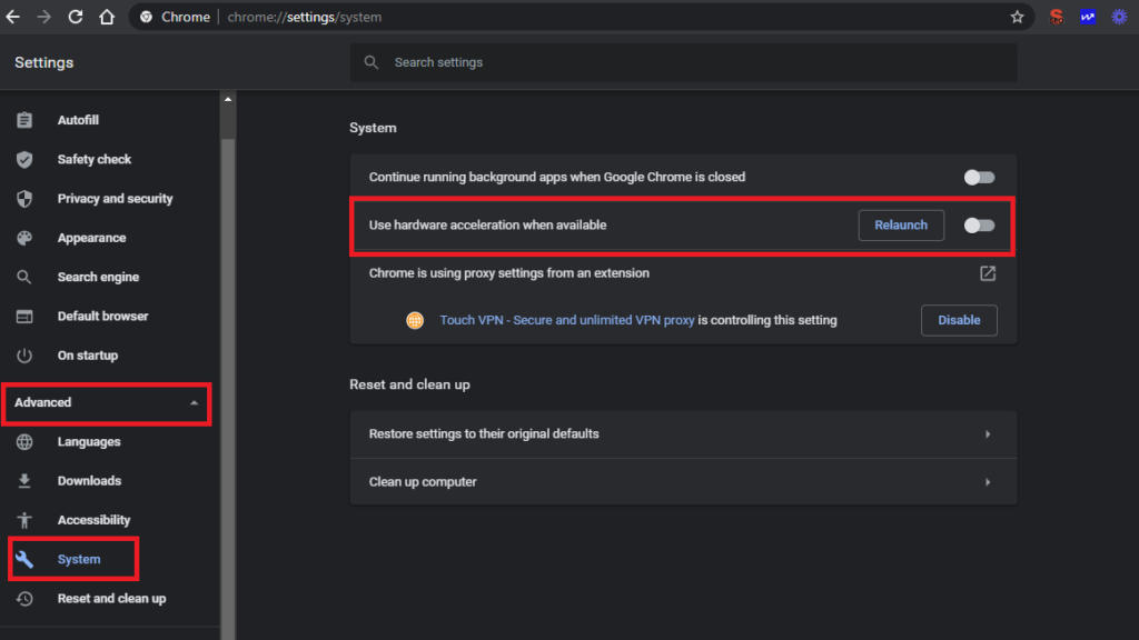 In the right column click on Advanced and then on System  Turn off Use hardware acceleration when available option and restart the Google Chrome and check if the ERR_SSL_VERSION_INTERFERENCE error has gone