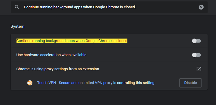 Now copy-paste the Continue running background apps when Google Chrome is closed in the settings search box. Turn off the Continue running background apps when the Google Chrome option in case it is on. Now restart the chrome browser again.