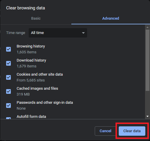 Open Google Chrome and press Ctrl + Shift + Delete keys to open the Clear Browsing Data tab. Now set the Time Range to All Time and select the Clear Data option.