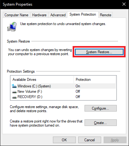 Click on the System Restore button in the System Protection tab and then click on the Next button in the pop-up System Restore window.